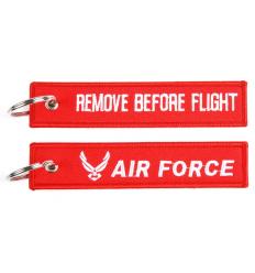 Brelok / Zawieszka do kluczy - REMOVE BEFORE FLIGHT - AIR FORCE - Czerwony