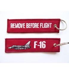 Brelok / Zawieszka do kluczy - REMOVE BEFORE FLIGHT - F-16 - Ciemny Czerwony