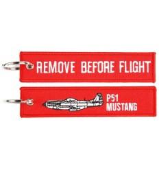 Brelok / Zawieszka do kluczy - REMOVE BEFORE FLIGHT - P51 MUSTANG - Czerwony