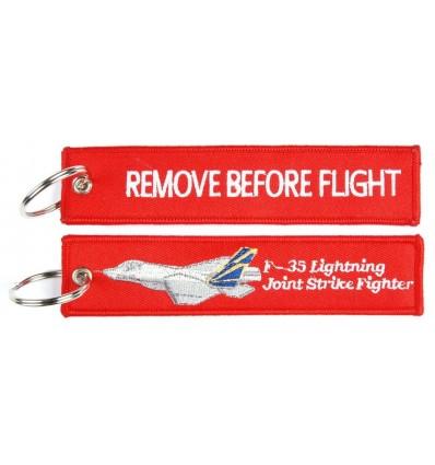 Brelok / Zawieszka do kluczy - REMOVE BEFORE FLIGHT - F-35 Lightning - Czerwony - style 2