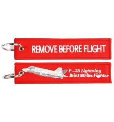 Brelok / Zawieszka do kluczy - REMOVE BEFORE FLIGHT - F-35 - Czerwony - style 1