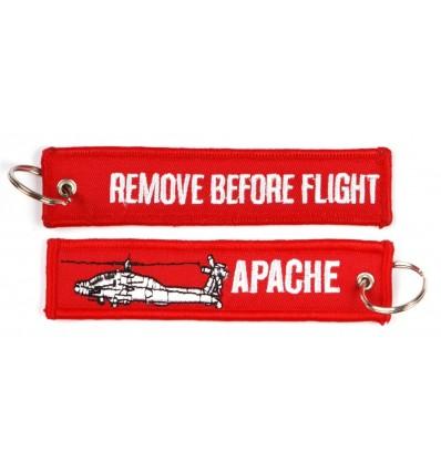 Brelok / Zawieszka do kluczy - REMOVE BEFORE FLIGHT - APACHE - Czerwony