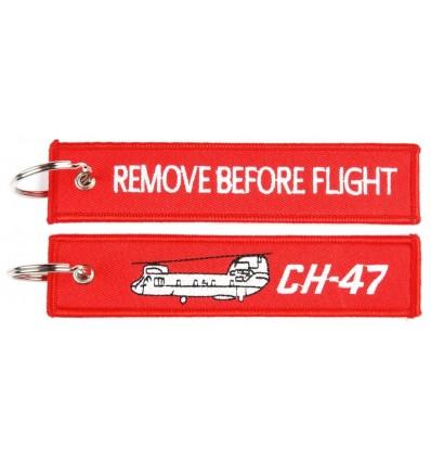 Brelok / Zawieszka do kluczy - REMOVE BEFORE FLIGHT - CH-47 - Czerwony