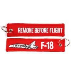 Brelok / Zawieszka do kluczy - REMOVE BEFORE FLIGHT - F-18 - Czerwony