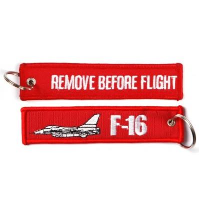 Brelok / Zawieszka do kluczy - REMOVE BEFORE FLIGHT - F-16 - Czerwony