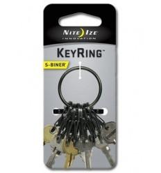 Nite Ize - Brelok do kluczy - S-Biner KeyRing Steel - Czarny - KRGS-01-R3