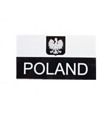 Combat-ID - Naszywka Polska Herb - Duża z napisem - Biały/Czarny - Gen II IR
