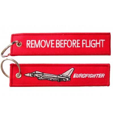 Brelok / Zawieszka do kluczy - REMOVE BEFORE FLIGHT - EUROFIGHTER - Czerwony