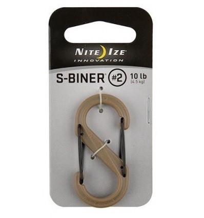 Nite Ize - Karabinek S-Biner 2' Plastic Black Gate - Coyote - SBP2-03-28BG