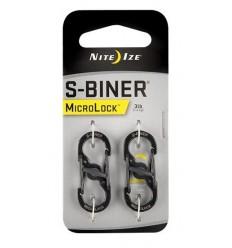 Nite Ize - Zestaw dwóch karabinków - S-Biner MicroLock - Czarny - 2Pack - LSBM-01-2R3
