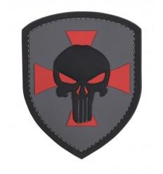101 Inc. - Naszywka Shield Punisher Cross - 3D PVC - Szary