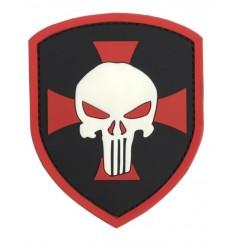 101 Inc. - Naszywka Shield Punisher Cross - 3D PVC - Czerwony