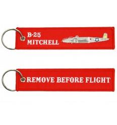 Brelok / Zawieszka do kluczy - REMOVE BEFORE FLIGHT - B25 MITCHELL - Czerwony