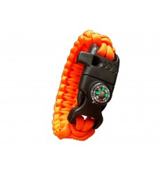 MALAMUT - Bransoletka surwiwalowa FIRE VIPER - Krzesiwo Kompas Gwizdek - Paracord 550 USA - Orange
