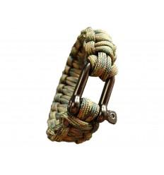 MALAMUT - Bransoletka surwiwalowa IRON VIPER - Szekla - 3m linki - Paracord 550 USA - Woodland