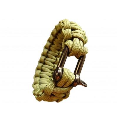 MALAMUT - Bransoletka surwiwalowa IRON VIPER - Szekla - 3m linki - Paracord 550 USA - Olive