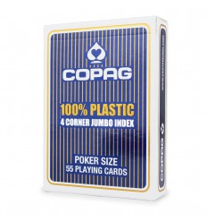 Copag - Karty do gry - 100% Plastic - 4Corner JUMBO index Poker Size - 55 kart