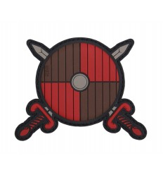 101 Inc. - Naszywka VIKING SHIELD + SWORDS - 3D PVC - red/brown