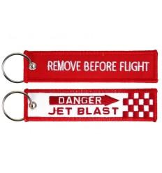 Brelok / Zawieszka do kluczy - REMOVE BEFORE FLIGHT - Danger Jet Blast - Czerwony