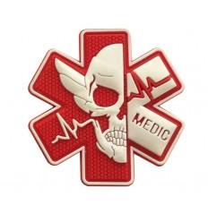 Mtac - Naszywka MEDIC Skull - Czerwony