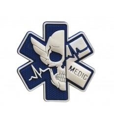 Mtac - Naszywka MEDIC Skull - Niebieski