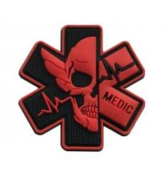 MALAMUT - Naszywka MEDIC Skull - Czerwony/Czarny
