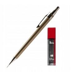 Tetis - Ołówek automatyczny / metalowy 0.7mm - HB - Gun metal - KV020-TB + 20 grafitów