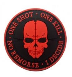 101 Inc. - Naszywka One Shot One Kill - 3D PVC - rzep - RED