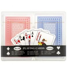 Karty - Zestaw kart do gry - 2 talie / 2x56 - Plastikowe pudełko
