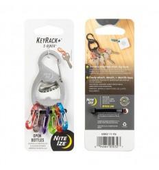 Nite Ize - Karabinek na klucze z otwieraczem KeyRack+™ S-Biner® - Srebrny - KRB2-11-R6