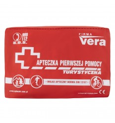 VERA - Apteczka z wyposażeniem - turystyczna - czerwona - 076