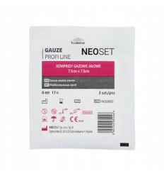 NEOSET - Kompresy z gazy - jałowe / sterylne - 3 sztuki/ blister - 7,5x7,5cm
