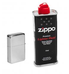 Atomic / Zippo - Zestaw zapalniczka Chrom + Benzyna